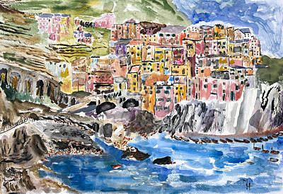 Riomaggiore Painting - Pastel Patchwork Village by Michael Helfen