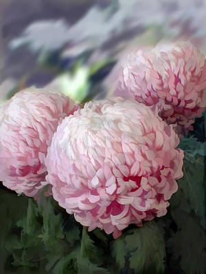 Mums Painting - Pastel Pink Pom Pom Mums by Elaine Plesser