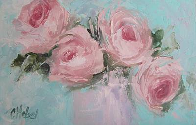 Pastel Pink Roses Painting Art Print by Chris Hobel