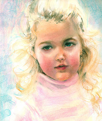 Painting - Pastel Portrait Of An Angelic Girl by Greta Corens