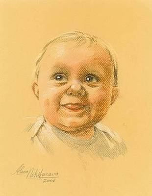 Pastel - Pastel Portrait Of Baby. Commission. by Alena Nikifarava