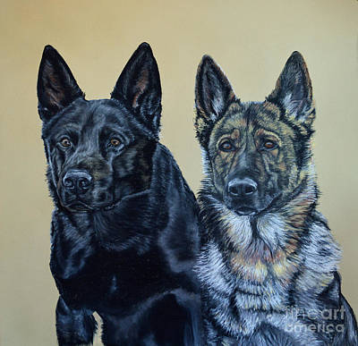 Pastel - Pastel Portrait Of Two German Shepherds by Ann Marie Chaffin