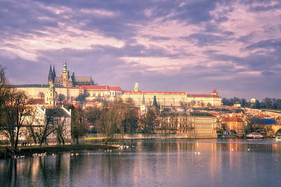 Pastel Prague Morning Art Print by Joan Carroll