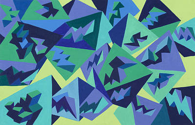 Abstract Painting - Pastel Pyramids by Sean Corcoran