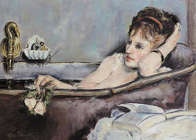 Painting - after Alfred Stevens The Bath by Jodie Marie Anne Richardson Traugott          aka jm-ART