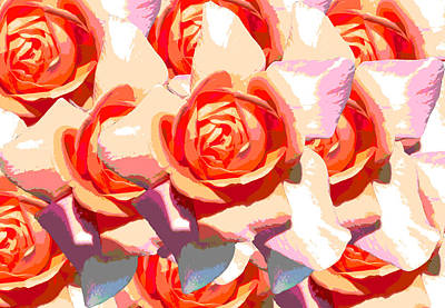Passionflower Digital Art - Pastel Roses by Diana Burlan