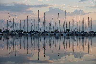 Photograph - Pastel Sailboats Reflections At Dusk by Georgia Mizuleva