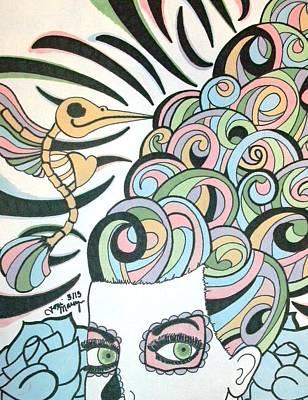 Sugar Skull Girl Drawing - Pastel Sugar Skull Girl by Toni Margerum
