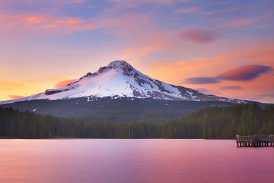 Mount Hood Photograph - Pastel Sunset by Darren  White