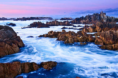 Abstract Works - Pastel Tides - Rocky Asilomar Beach in Monterey Bay at sunset. by Jamie Pham