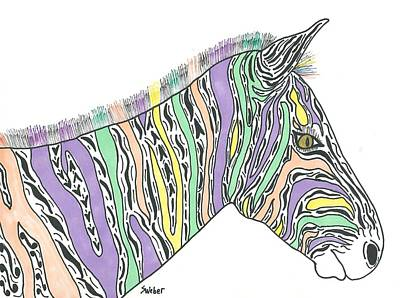 Art Print featuring the painting Pastel Zebra  by Susie Weber