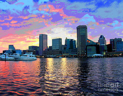 Photograph - Pasterl Baltimore Harbor Sunset by Larry Oskin
