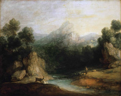 Mountain Goat Painting - Pastoral Landscape. Rocky Mountain Valley With A Shepherd Sheep And Goats by Thomas Gainsborough