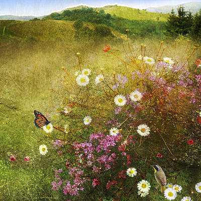 Pasture Rose Painting - Pastoral Meadow With Monarch And Yellowthroat by R christopher Vest