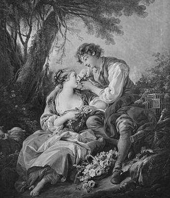 Flirtation Painting - Pastoral Scene by Francois Boucher
