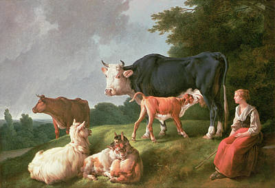 Cow Photograph - Pastoral Scene Oil On Canvas by Jean-Baptiste Huet