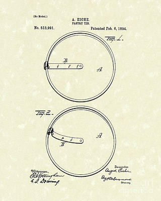 Drawing - Pastry Tin 1894 Patent Art by Prior Art Design