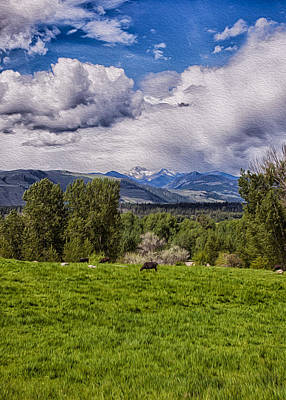 Painting - Pastures And Clouds  by Omaste Witkowski