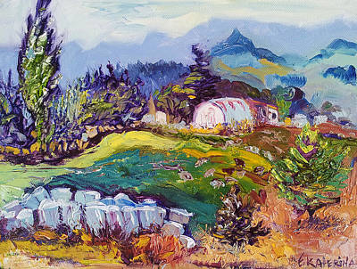 Painting - Pastures Landscape Oil Painting by Ekaterina Chernova