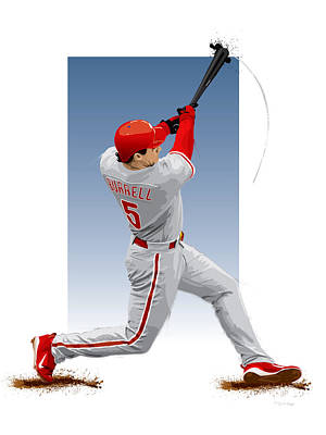 Digital Art - Pat The Bat Burrell by Scott Weigner