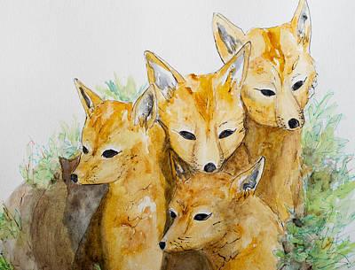Painting - Patagonia Fox Kitts At Den by Patricia Beebe