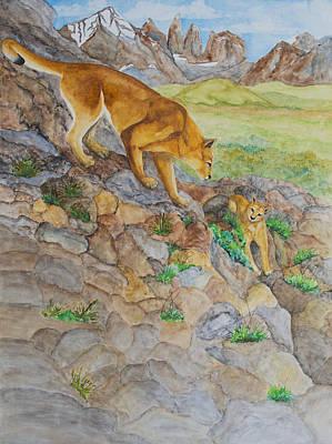 Painting - Patagonia Pumas by Patricia Beebe