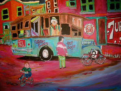 Montreal Memories. Painting - Patates Frites...chip Wagon by Michael Litvack