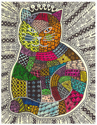 Patchwork Quilts Drawing - Patchwork Cat 1 by Rebecca Klingbeil