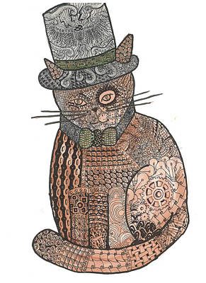 Patchwork Cat IIi Steampunk Kitty Print by Rebecca Klingbeil