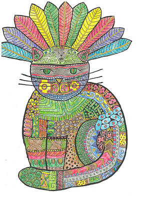 Mayan Drawing - Patchwork Cat V Mayan Warrior Cat by Rebecca Klingbeil