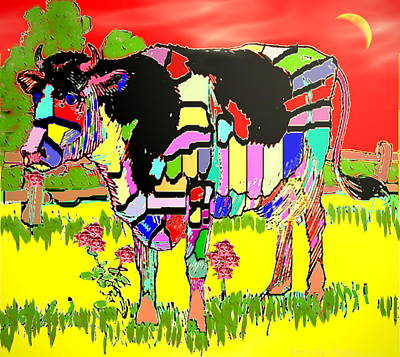 Numbers Plus Photograph - Patchwork Cow by Joyce Dickens
