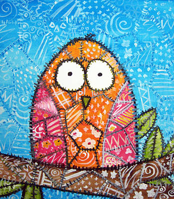 Trendy Painting - Patchwork Owl - Orange by Stacey Clarke