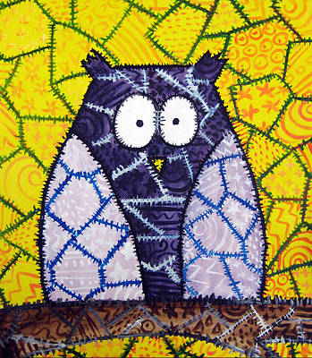 Stacey Painting - Patchwork Owl - Purple by Stacey Clarke