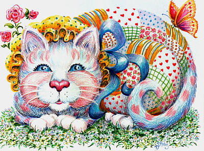 Art Print featuring the drawing Patchwork Patty Catty by Dee Davis