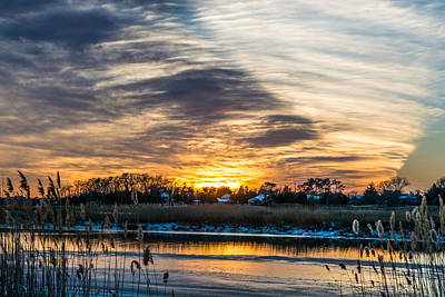 Best Sellers - Surrealism Royalty-Free and Rights-Managed Images - Patcong Creek Winter Sunset by Surreal Jersey Shore