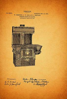 Authority Drawing - Patent And Design For Cooking Stove Or Range 1906 by Mountain Dreams