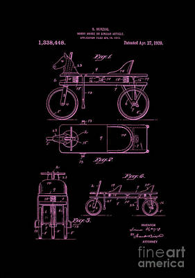 Digital Art - Patent Art 1920 Herzog Hobby Horse Pink by Lesa Fine