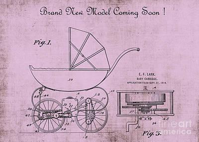 Patent Art Baby Carriage 1920 Lark Invite 4 Art Print by Lesa Fine