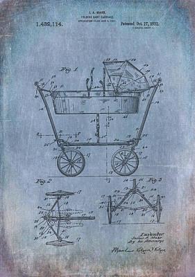 Vintage Digital Art - Patent Art Baby Carriage 1922 Mahr Denim by Lesa Fine
