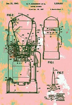 Old Grinders Digital Art - Patent Art Coffee Grinder by Dan Sproul