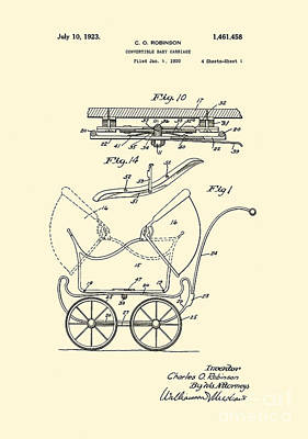 Patent Art Convertable Baby Carriage 1923 Robinson Design Yellow Art Print by Lesa Fine