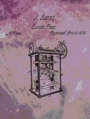 Plantations Digital Art - Patent Art Cotton Press by Dan Sproul