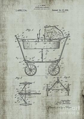 Wheels Digital Art - Patent Art Mahr Baby Carriage 1922 Green by Lesa Fine