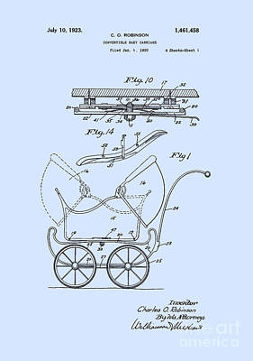 Wheel Digital Art - Patent Art Robinson Baby Carriage Blue by Lesa Fine