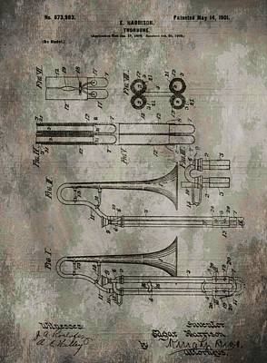 Marching Band Digital Art - Patent Art Trombone by Dan Sproul