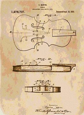 Violin Digital Art - Patent Art Violin by Dan Sproul
