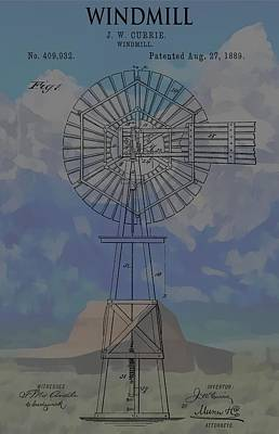 Teton Mixed Media - Patent Art Windmill And Mountains by Dan Sproul