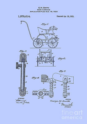 Digital Art - Patent Baby Carriage 1921 Smith Blue by Lesa Fine