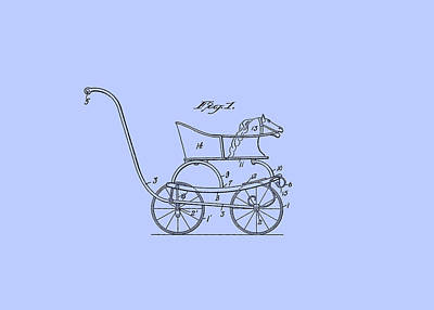 Digital Art - Patent Baby Carriage 1921 Smith Horse - Blue by Lesa Fine