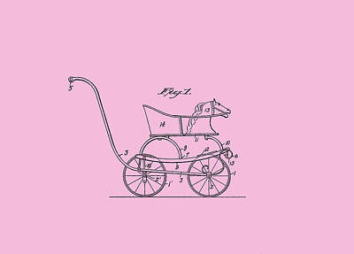 Digital Art - Patent Baby Carriage 1921 Smith Horse - Pink by Lesa Fine